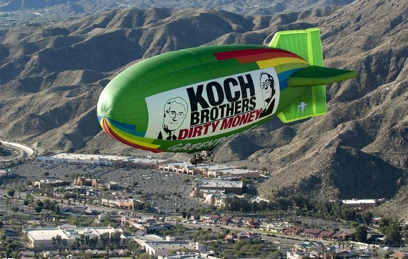 Greenpeace's Koch Brothers Dirty Money Blimp