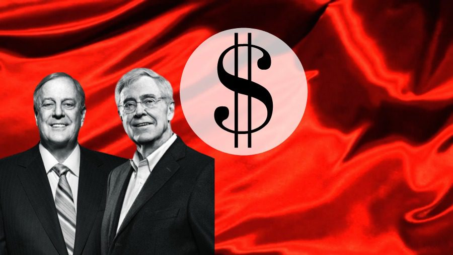 Koch Brothers and money symbol on red satin