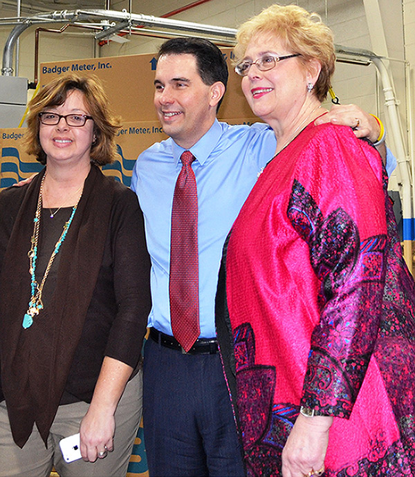 Photo of Lorri Pickens with Scott Walker and Wisconsin Family Action's Julie Appling