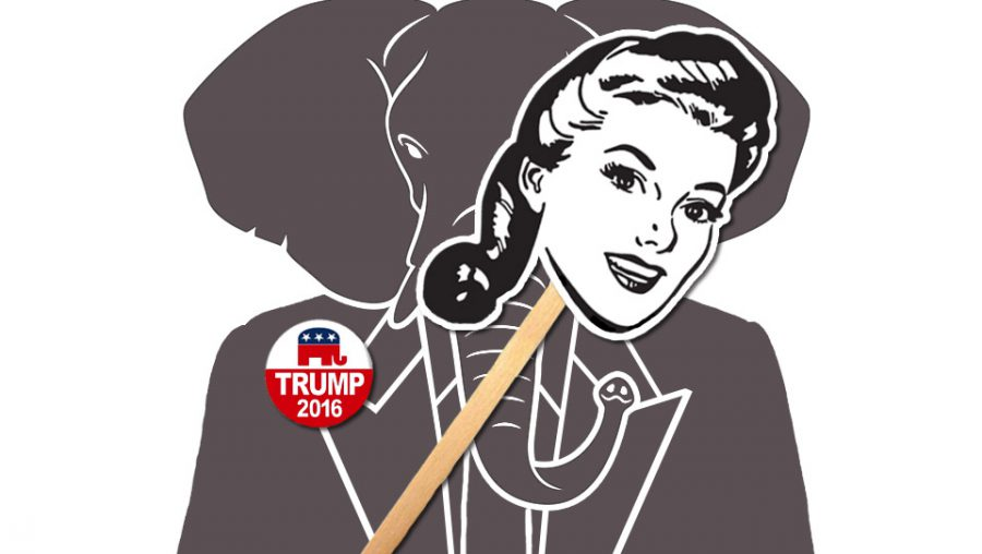 GOP mascot with 1950's lady mask