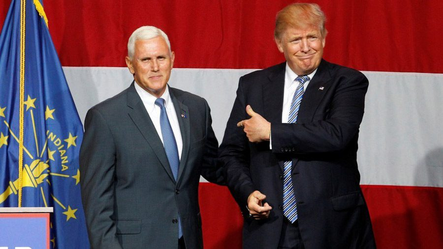 Pence and Trump on stage