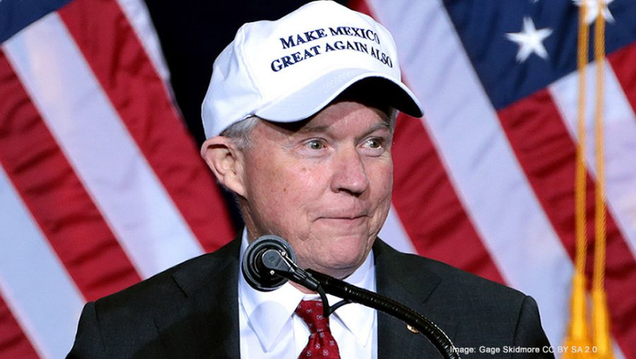 Jeff Sessions wearing Make Mexico Great Again Also hat