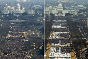 President Obama's 2009 inauguration crowd, left, and President Trump's 2017 inauguration crowd, right