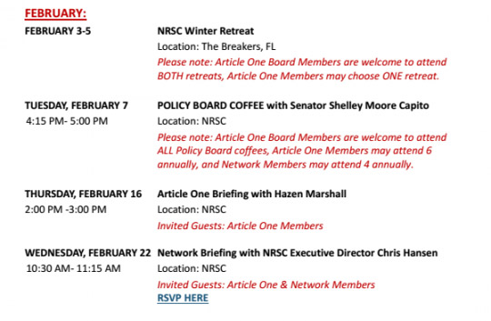 NRSC Schedule of events