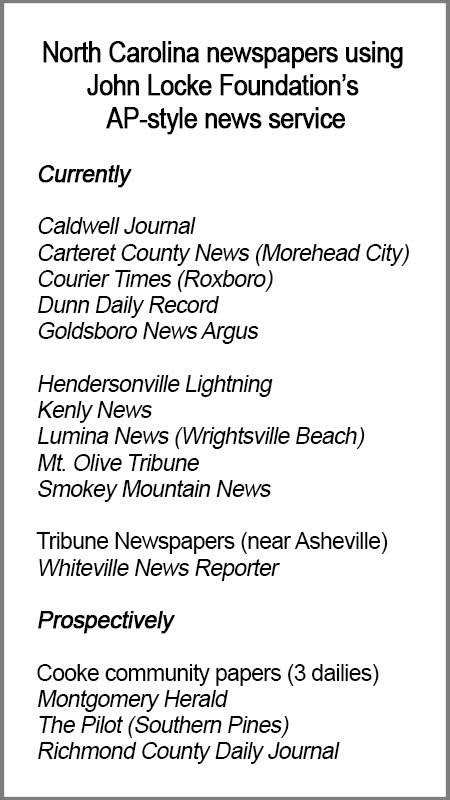 NC newspapers using JLF AP-style news service