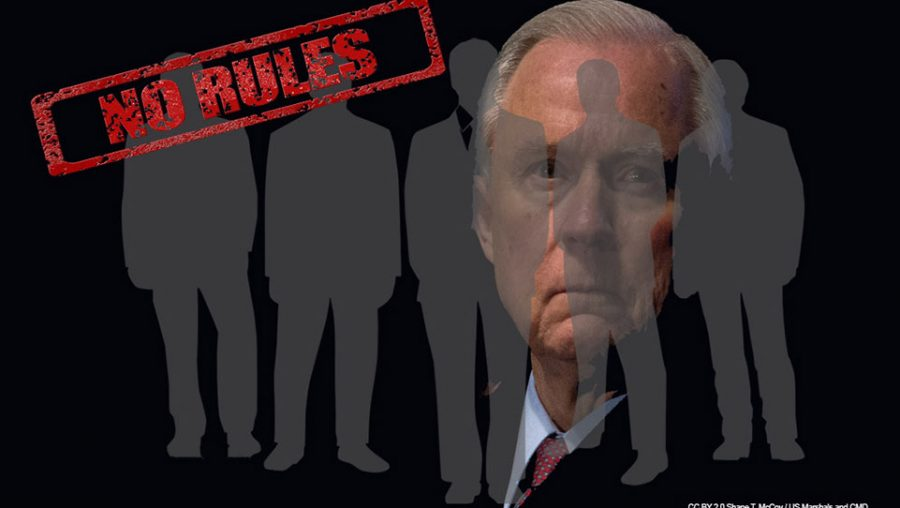 "Sessions behind business men ""No Rules"""