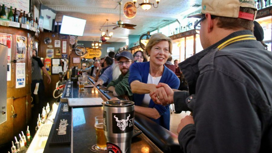 Tammy Baldwin having a beer
