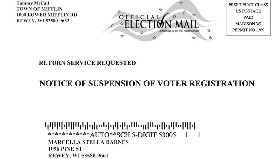 Wisconsin suspension of voter registration postcard