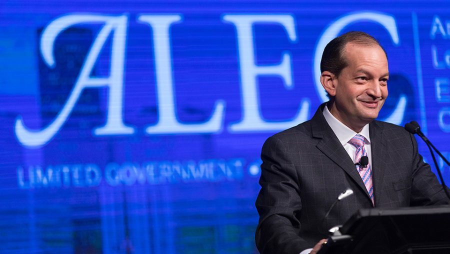 U.S. Secretary of Labor Alexander Acosta gives remarks at the 44th annual American Legislative Exchange Council (ALEC) meeting held in Denver, CO, July 2017